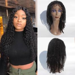 Elesis Hair Virgin Human Hair wig deep parting 13x6 lace frontal Jerry curly virgin hair wig 150% Density