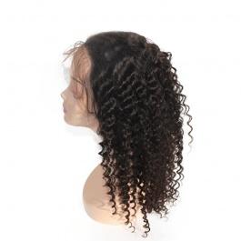 Pre-plucked Deep parting 13x6 lace frontal wig deep wave curly virgin human hair wig Elesis Virgin hair product