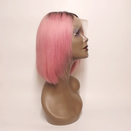 Sexy bob color wig  rose pink ombre dark root  short wig lace frontal wig for girl