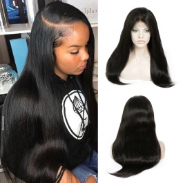 Remy Human Hair Full Lace Wig  130% Density Brazilian Straight Hair Pre Plucked With Baby Hair