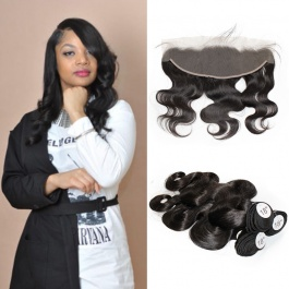 Elsis Virgin Hair Top grade Virgin Brazilian Hair  body wave 3bundles with 13x4 preplucked frontal swiss lace