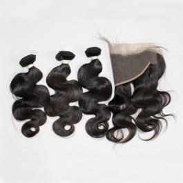 Elsis Virgin Hair Top grade Virgin Brazilian Hair  body wave 3bundles with 13x4 preplucked frontal swiss lace