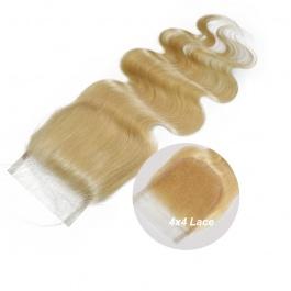 "Elesis Virgin Brazilian Hair Honey Blonde 613 Bleached Knots Pre Plucked Lace Body Wave Closure 4""x4"""