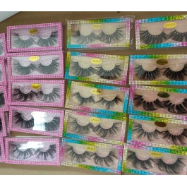 Elesis 3D Real Mink Eyelashes with colorful drawer type boxes Natural Long 15~18mm 100% Handmade Fur Lashes Extension