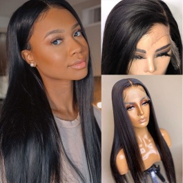 Elesis Virgin Hair Invisible 13x4  HD Frontal Transparent Lace Human Hair Glueless Lace Wigs Pre Plucked Natural Hairlin