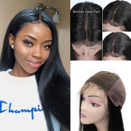 Elesis Virgin Hair custom wig unit 6x6 large lace parted space closure wig full density wig Hight Grade Virgin Hair