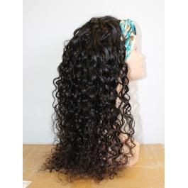 Elesis Virgin Hair Long Human Hair Headband Scarf wigs  Glueless No plucking Wigs 200% Density 300grams Nautral Black