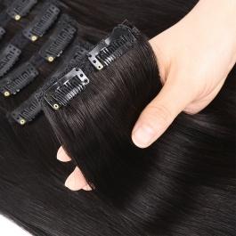 elesis virgin hair clip in hair extensions 100% human hair 7pcs set 120grams