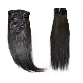 Elesis virgin hair 9pcs set 140grams Raw Hair clip in 100% human hair