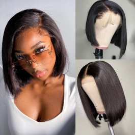 Bob wig Straight natural color double drawn hair lace frontal wig