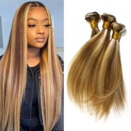 Elesis  Highlight Bundles Straight Hair 3 Bundles Virgin Remy Hair Weave Brazilian Human Hair Piano Color Hair P8/613 Ex