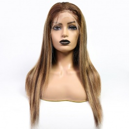Elesis 180% Density Blonde Highlight Piano Color P4/27 Lace Part Wig  Human Hair Long Straight Hair