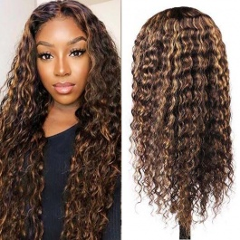 Elesis Ombre Lace Closure Wig Curly Human Hair Wigs Highlight  #4/27 Deep Wave Wigs For Women Remy Human hair 180% Densi