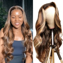 Elesis Virgin Remy Human Hair Lace Closure Wigs Blonde Highlight Piano Colored #4/27 Wigs Body Wave Hair Wigs 180% Densi