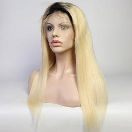 Darkroot Blonde Toner T1B/613 Straight Raw hair Wig  180% Density Brazilian hair lace closure /frontal wig