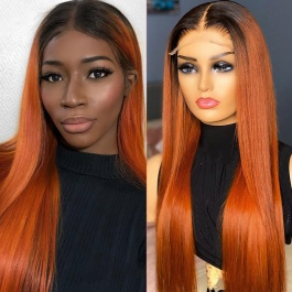 Orange Ginger Human Hair Wigs Ombre Color T#1b/130A Virgin Remy Hair Lace Wig 180% Brazilian  4x4 Closure Wig Lace Front