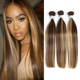 Elesis  balayage highlight bundles straight hair 3bundls virgin remy hair weave piano color hair p4/27 brazilian human h