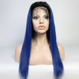 Ombre Toner 1B Blue color wigs virgin remy hair lace wig 180% Density Brazilian hair lace closure wig / frontal wig