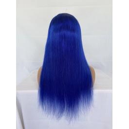 Elesis Virgin Hair Top grade Pure color Blue 100% raw hair lace Clousre wig/Frontal wig 180% Density Brazilian Hair Wig